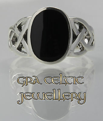 925 Sterling Silver Black Onyx Stone Celtic Weaved Ring MADE IN IRELAND