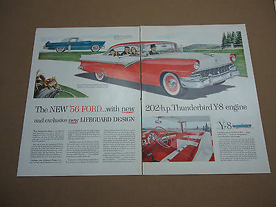 Vintage 1956 Ford Fairlane Thunderbird Car Automobile 2 Page Ad Advertising