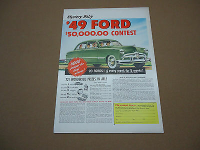 Vintage 1949 Ford Car Contest Automobile Ad Advertising