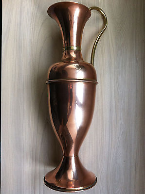 "17"" Tall copper Ewer with brass handle and accent vintage vase jug"
