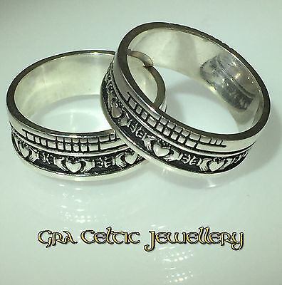 Sterling Silver Claddagh Faith Ring - With Ogham Language - MADE IN IRELAND