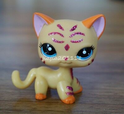 #2118 Littlest Pet Shop LPS Glitter Sparkle Standing Ranch Cat Kitty Animal Toys