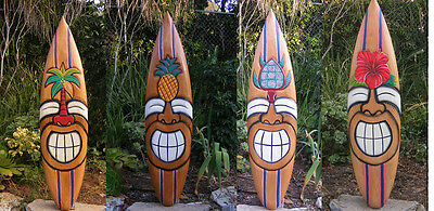 "Tiki Surfboard Mask Package Deal Wood Patio Tropical Bar 40""  Set of 4"