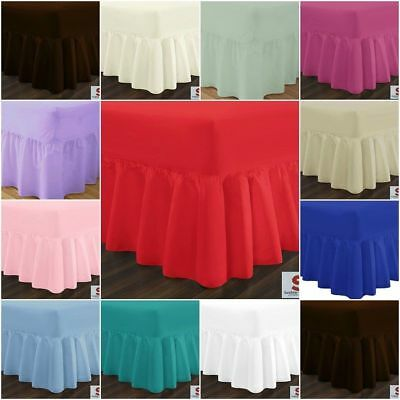 Plain Dyed 68 Pick Cotton Blend Fitted Valance Bed Sheet Single Double King S. K