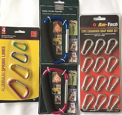 Easy Grab Handle Carabiner Clasp Snap Hook Buggies Shopping Camping 12pc 4pc 3pc