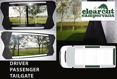 3 x VW T5/T6 Campervan Blackout Curtains Sets, Pre-formed Track,Ties and Poppers