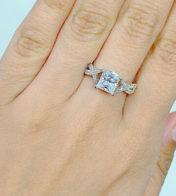 14K Solid White Gold Cubic Zirconia Princess Cut Wedding Engagement Ring