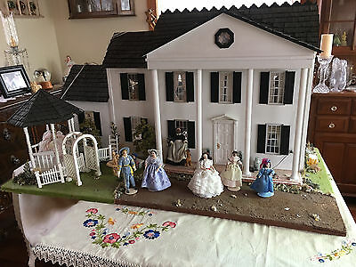 Gone With The Wind Furnished Handmade Dollhouse 8 Rooms Lighted