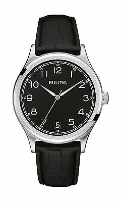 Bulova Men's 96B233 Classic Collection Quartz Black Dial Leather Strap Watch