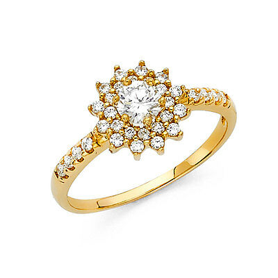 14K Solid Yellow Gold Cubic Zirconia Flower Wedding Engagement Ring
