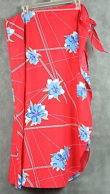 Hilo Hattie Sarong Wrap Skirt Pink Floral Made in Hawaii SIZE REGULAR