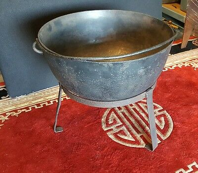 "Large Antique Cast Iron Kettle Pot Cauldron With Stand 25 1/2"" Weighs 78 lbs"