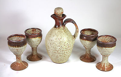 """Collectible, Studio Art Pottery Wine Set 10"""" Decanter & 4 Goblets Signed"""