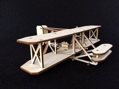 Laser Cut Wooden Wright Brothers Plane 3D Model/Puzzle Kit