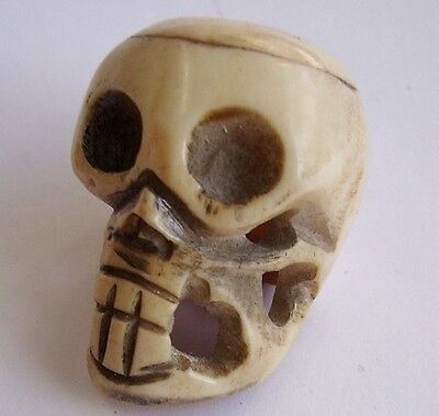 Antique Hand Carved SKULL Netsuke.