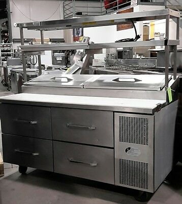 """Used 68"""" Randell Refrigerated Pizza Prep Table With Overshelf"""
