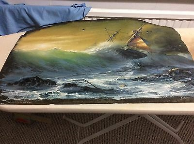 STUNNING Oil Painting on Slate signed  J Whitehand '77. Loss of the Brigantine