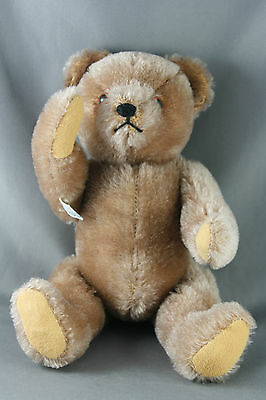 Vtg 60s 70s Hermann Teddy Bear Wool Cotton Jointed Light Brown Green Arm Tag