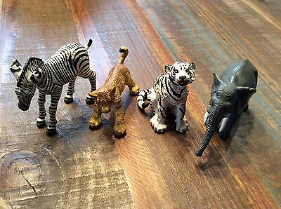 Lot of 3 Safari Ltd. Wild Animal toy figures & 1 elephant unknown larger size