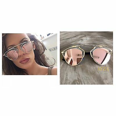 AYZA So Hot Real Design Sonnenbrille Damen Vintage Silber Verspiegelt XtN14