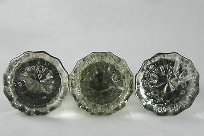 Vtg Clear Glass Door Knob Pull 12 Point Lot of 3 No Hardware Brass