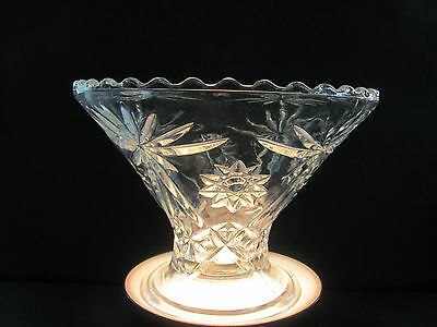 Vtg Clear Anchor Hocking Prescut Star Of David Punch Bowl Base Stand