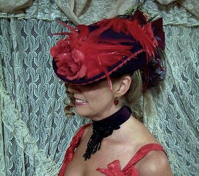 Gorgeous Custom Victorian Style Hat Black & Red 100% Wool Felt Size 6 1/2