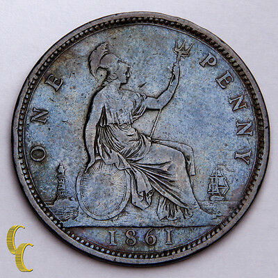 1861 Great Britain Penny 15 Leaves About (XF) Extra Fine Condition