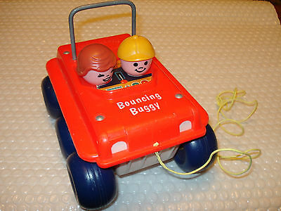 vintage Fisher-Price BOUNCING BUGGY Pull toy #122  (1974-79)  Super nice shape