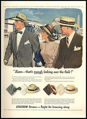 1946 Stetson Straw Hats Dormant Art Airport Field Vintage AD