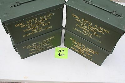 (FOUR) US Military Issued 5.56 MM .50 CAL M2A1 Ammo Can Box Surplus RARE MARKS !