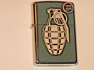 New Genuine Zippo USA Windproof Flame Lighter Grenade etched on HP Chrome Case