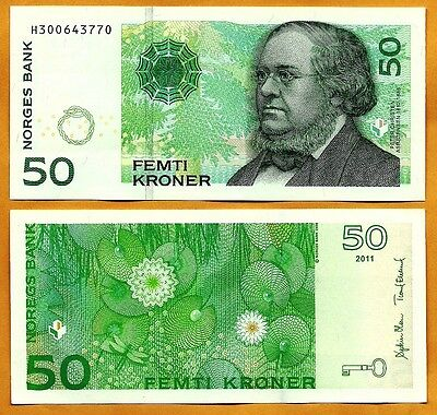 NORWAY 2011 UNC 50 Kroner Banknote Paper Money Bill P-46