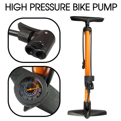 High Pressure Bicycle Bike Alloy Floor Air Pump Dual Valve Gauge UP TO 160 PSI