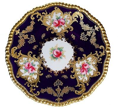 Rare Antique Spode Copeland Cobalt Gold Jewels Hand Painted Pink Roses Plate!