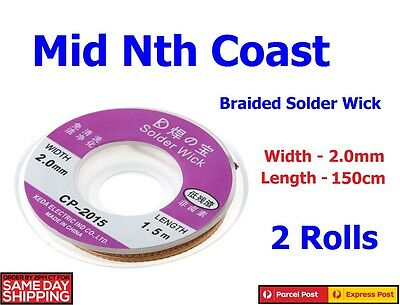 2Pcs -  2.0mm x 150cm Solder Removing Wick,Desoldering Braid  Non Fluxed 2 Rolls