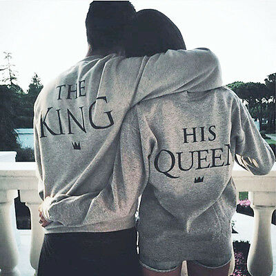 The King His Queen Men Women's Lover Cotton Sweatshirts Hoodies HCXM