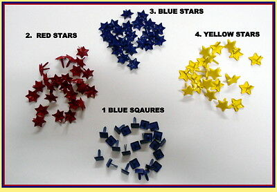Brads - STARS or SQUARES Choose your colour & shape - Scrapbooking - Cardmaking