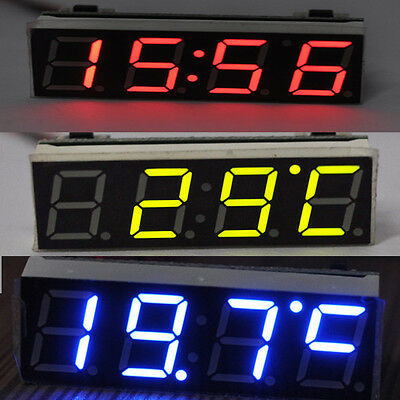 LED Digital Electronic Time Clock + Voltmeter + Thermometer for Car Auto 3 color