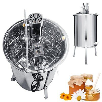New Electric Four 4 Frame Stainless Steel Bee Honey Extractor Honeycomb Drum