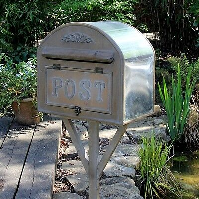 Free Standing Metal Post Box mail garden shabby vintage chic ornamental home