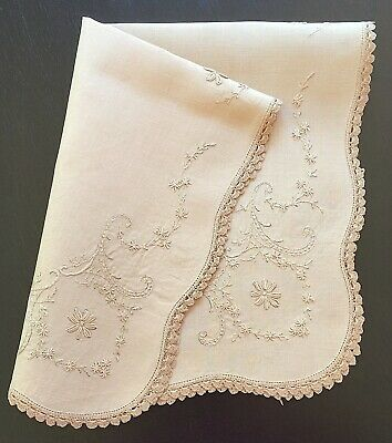 Rectangular Beige / Coffee Coloured Linen Doily with Embroidered Flowers Foliage