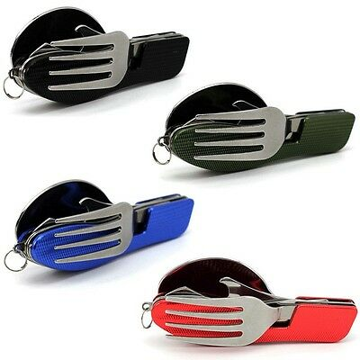 3in 1 Outdoor Camping Hiking Pocket Folding Spoon Fork Cutlery Travel Multi Tool