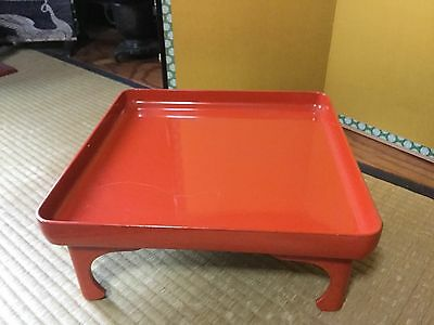 Japanese wooden OZEN meal-table, Vermillion orange lacquered  - 36cm sq.