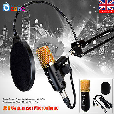 USB Condenser Studio Sound Recording Microphone Mic + Shock Mount Tripod Stand