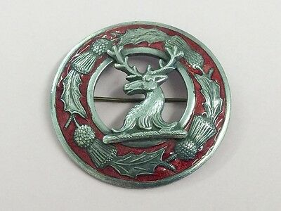 Vintage Silver Plated Enamel Scottish Stag Costume Brooch Pin 1940