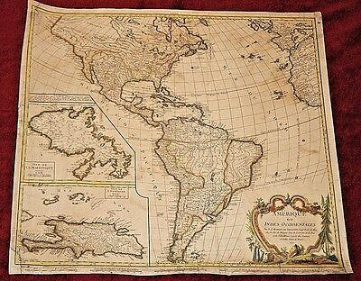 Hand Colored Antique Map of the Americas from 1771