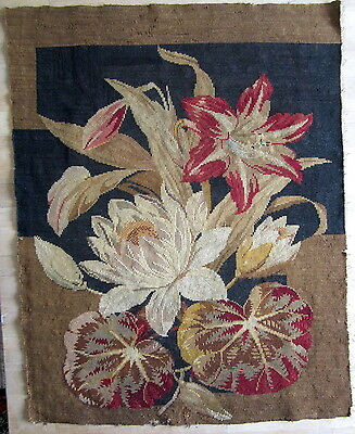 "Antique Victorian Needlepoint Tapestry section LILLIES red black brown 22"" x 28"""