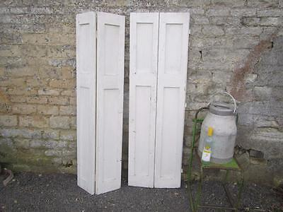 VINTAGE WOODEN FRENCH  WINDOW SHUTTERS PAIR  Bi Folding 160 TALL CM  FREE POST