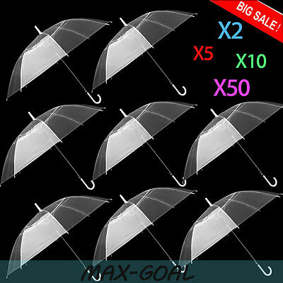 LOT 10 Transparent Clear Automatic Umbrella Parasol Dome for Wedding Party Favor